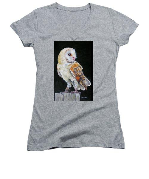 Night Watch Women's V-Neck T-Shirt (Junior Cut) by Phyllis Beiser