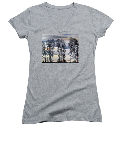 Women's V-Neck T-Shirt (Junior Cut) featuring the painting Nightfall Approaching by Marilyn  McNish