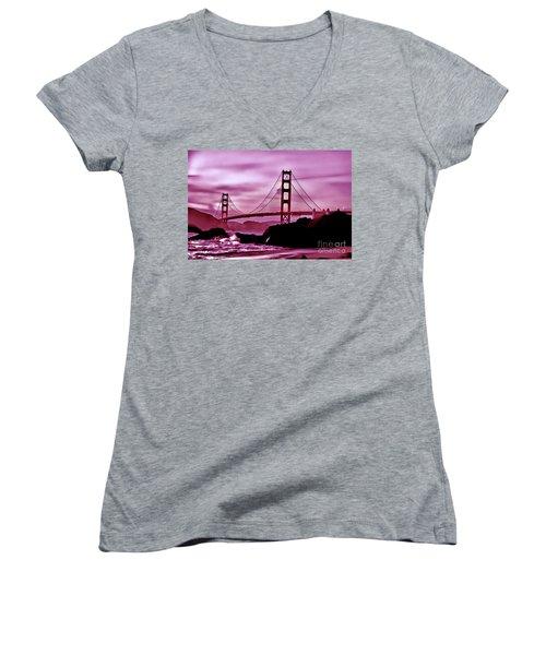 Nightfall At The Golden Gate Women's V-Neck