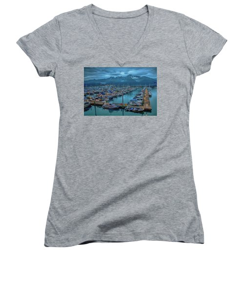 Nightfall On The Harbor Women's V-Neck T-Shirt