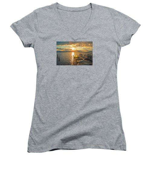 Nighttime Dockage Women's V-Neck T-Shirt (Junior Cut) by Rena Trepanier