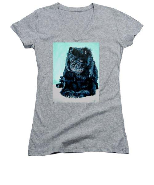 Nikki The Chow Women's V-Neck T-Shirt (Junior Cut) by Bryan Bustard