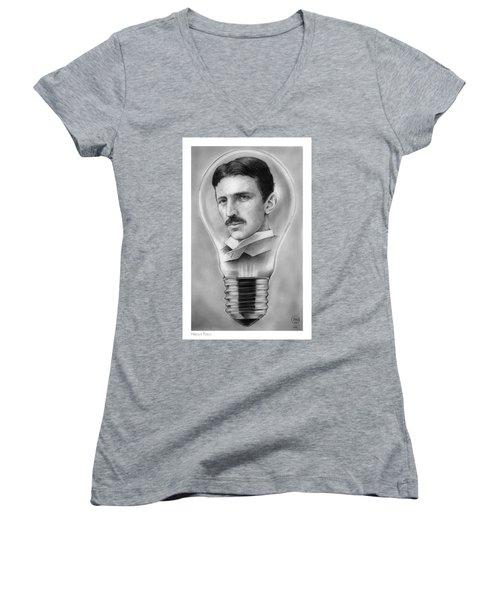 Nikola Tesla Women's V-Neck (Athletic Fit)