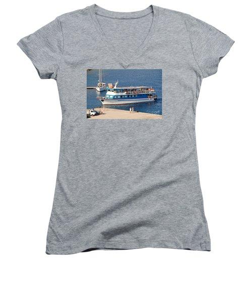 Nikos Express Ferry At Halki Women's V-Neck T-Shirt