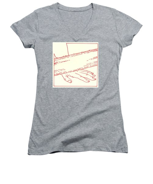 Women's V-Neck T-Shirt featuring the drawing Ninth Station- Jesus Falls The Third Time by William Hart McNichols
