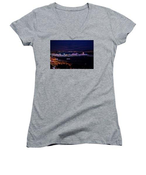 Nite Life On The Pier Women's V-Neck T-Shirt