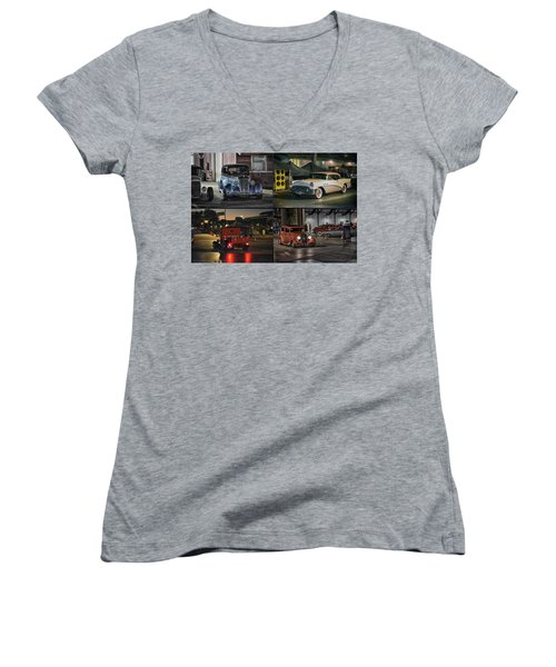 Women's V-Neck T-Shirt (Junior Cut) featuring the photograph Nite Shots At Cure by Bill Dutting