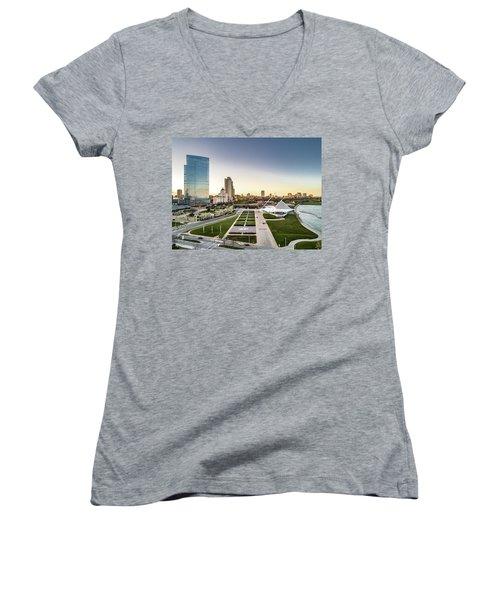Women's V-Neck T-Shirt featuring the photograph Nml And Mam by Randy Scherkenbach