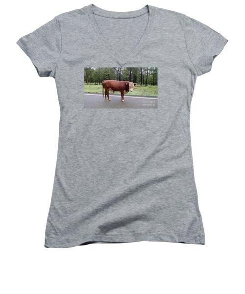 Women's V-Neck T-Shirt (Junior Cut) featuring the photograph No Bull by Roberta Byram