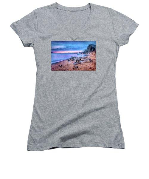 Women's V-Neck T-Shirt (Junior Cut) featuring the photograph No Escape by Edward Kreis