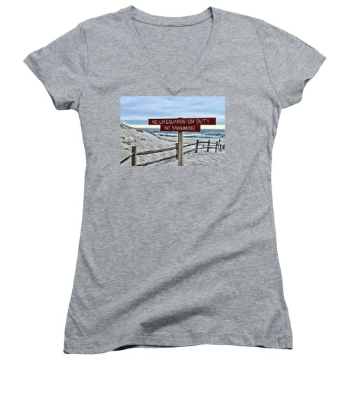Women's V-Neck T-Shirt (Junior Cut) featuring the photograph No Lifeguards On Duty by Paul Ward