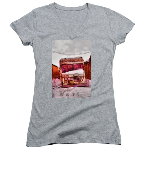 Women's V-Neck T-Shirt (Junior Cut) featuring the photograph No More Deliveries by Jeff Swan