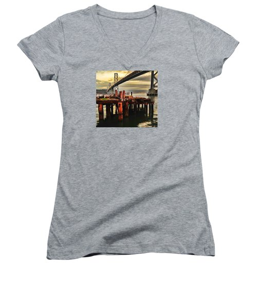 Women's V-Neck T-Shirt featuring the photograph No Name Dock by Steve Siri