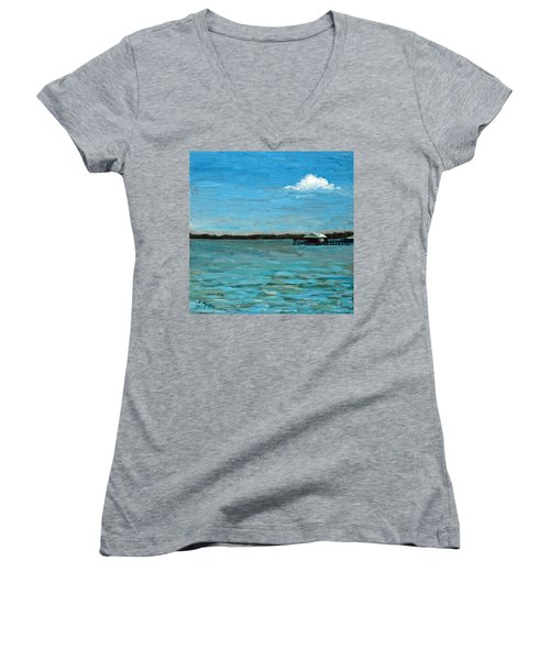 Women's V-Neck T-Shirt (Junior Cut) featuring the painting No Rain Today by Suzanne McKee