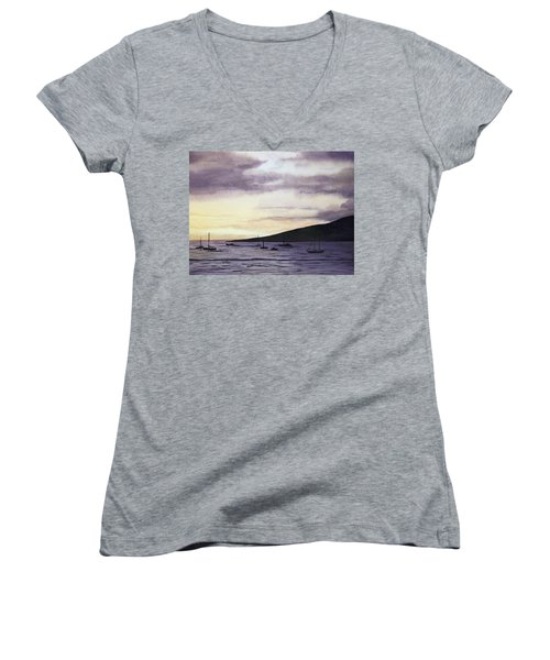 No Safer Harbor Lahaina Hawaii Women's V-Neck (Athletic Fit)