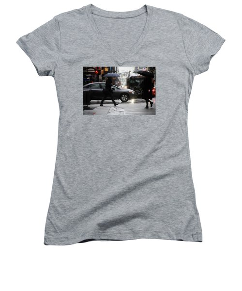 Women's V-Neck T-Shirt (Junior Cut) featuring the photograph No Trees Sneeze  by Empty Wall