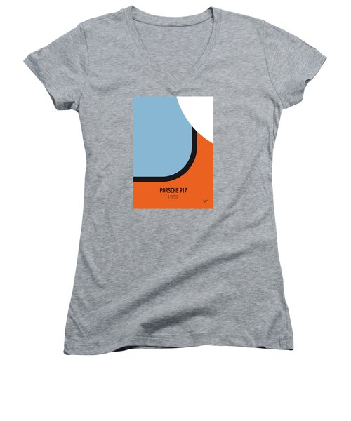 No016 My Le Mans Minimal Movie Car Poster Women's V-Neck (Athletic Fit)