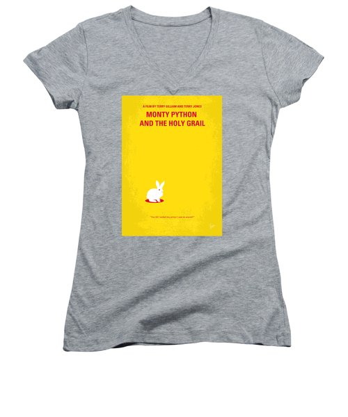 No036 My Monty Python And The Holy Grail Minimal Movie Poster Women's V-Neck T-Shirt (Junior Cut) by Chungkong Art