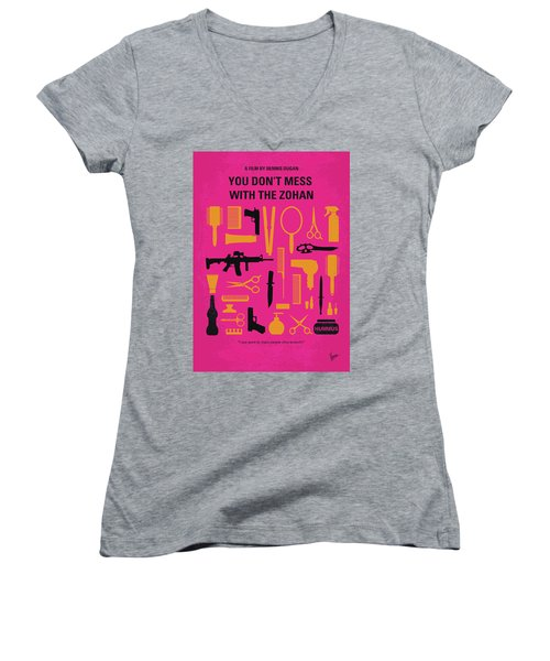 Women's V-Neck T-Shirt (Junior Cut) featuring the digital art No743 My You Dont Mess With The Zohan Minimal Movie Poster by Chungkong Art