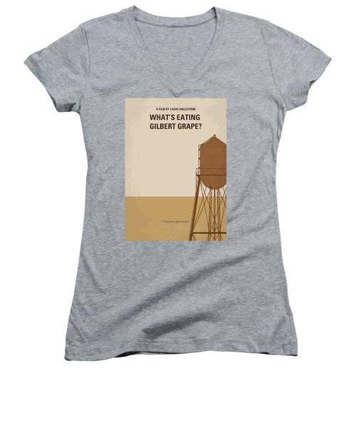 No795 My Whats Eating Gilbert Grape Minimal Movie Poster Women's V-Neck T-Shirt (Junior Cut)