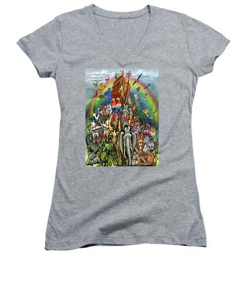 Noah's Ark Women's V-Neck T-Shirt (Junior Cut) by Kevin Middleton