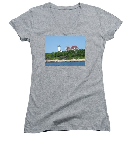 Nobska Point Lighthouse Women's V-Neck T-Shirt (Junior Cut) by Donna Walsh