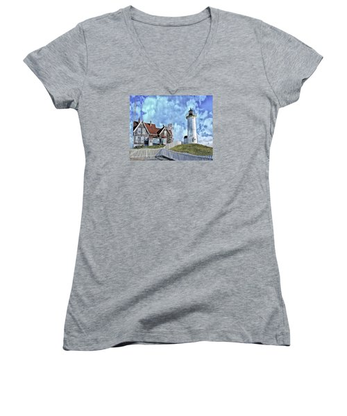 Nobska Point Lighthouse Falmouth Cape Cod Women's V-Neck T-Shirt (Junior Cut) by Constantine Gregory