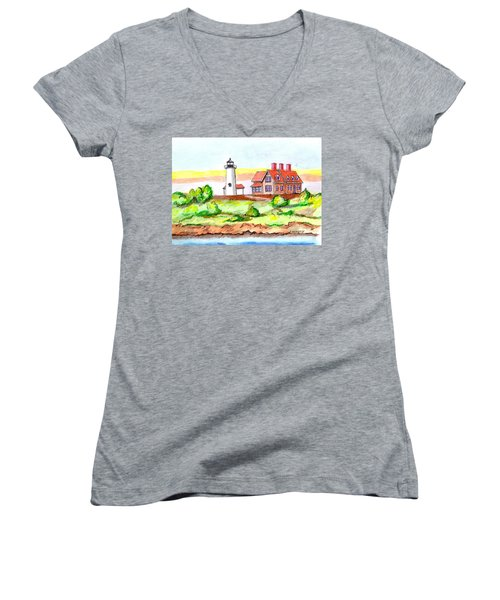 Nobska Point Lighthouse Women's V-Neck T-Shirt