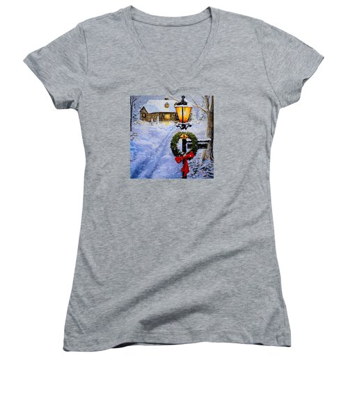 Noel Women's V-Neck T-Shirt (Junior Cut) by Alan Lakin