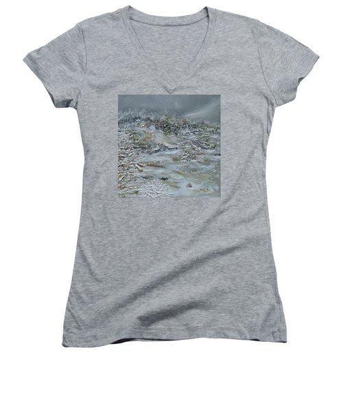 Women's V-Neck T-Shirt featuring the painting Nor'easter by Judith Rhue