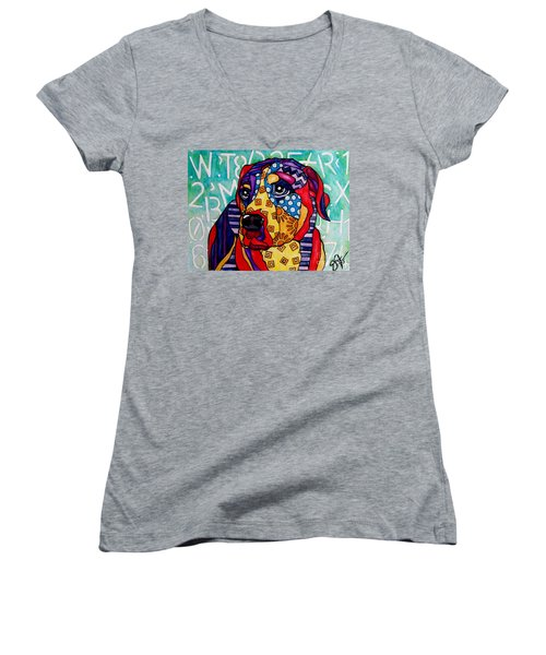 Norman  Women's V-Neck T-Shirt (Junior Cut) by Jackie Carpenter