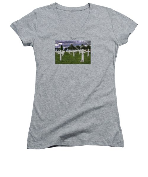 Normandy American Cemetery Women's V-Neck