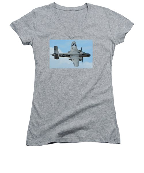 Women's V-Neck T-Shirt (Junior Cut) featuring the photograph North American B-25j Mitchell N9856c Pacific Princess Chino California April 30 2016 by Brian Lockett