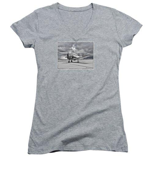 North American T-28 Women's V-Neck T-Shirt (Junior Cut) by Douglas Castleman