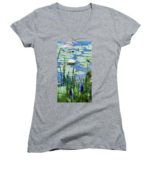 North American White Water Lily Women's V-Neck (Athletic Fit)