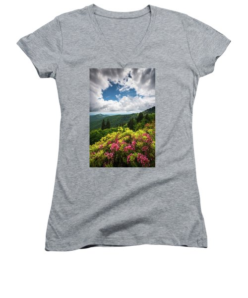 North Carolina Appalachian Mountains Spring Flowers Scenic Landscape Women's V-Neck (Athletic Fit)