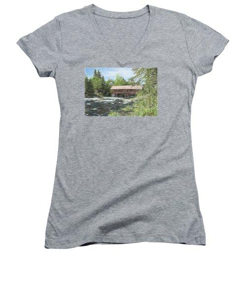 North Country Bridge Women's V-Neck T-Shirt (Junior Cut) by John Selmer Sr