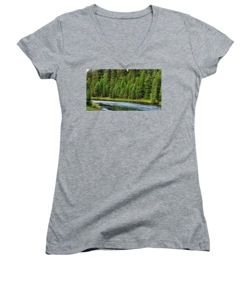 North Fork Of The Flathead Women's V-Neck T-Shirt