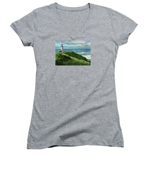 North Head Lighthouse And Beyond Women's V-Neck T-Shirt