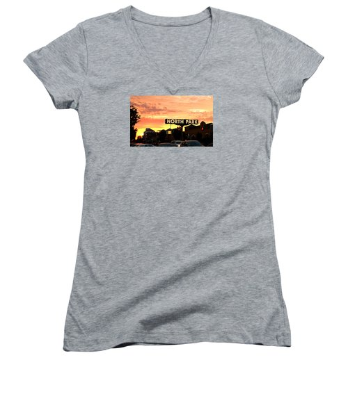 Women's V-Neck T-Shirt (Junior Cut) featuring the photograph San Diego North Park Sun by Christopher Woods