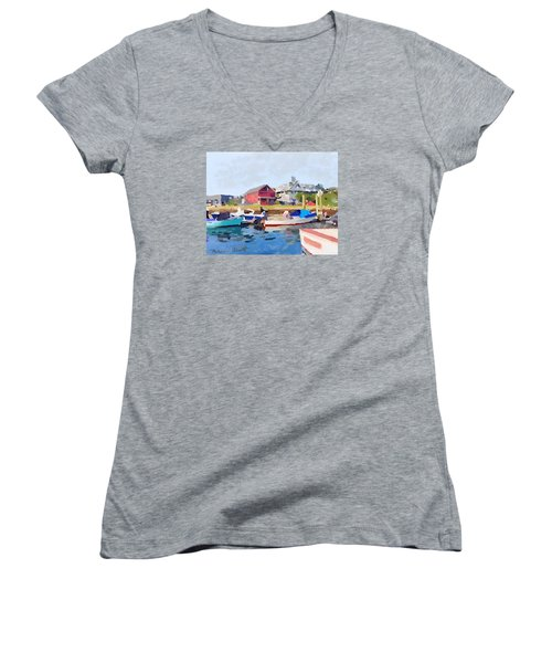North Shore Art Association At Pirates Lane On Reed's Wharf From Beacon Marine Basin Women's V-Neck T-Shirt (Junior Cut) by Melissa Abbott