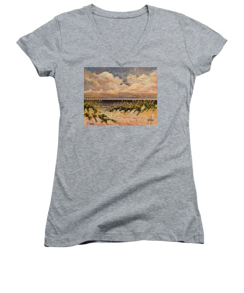 Women's V-Neck T-Shirt (Junior Cut) featuring the painting North Topsail Beach by Jim Phillips