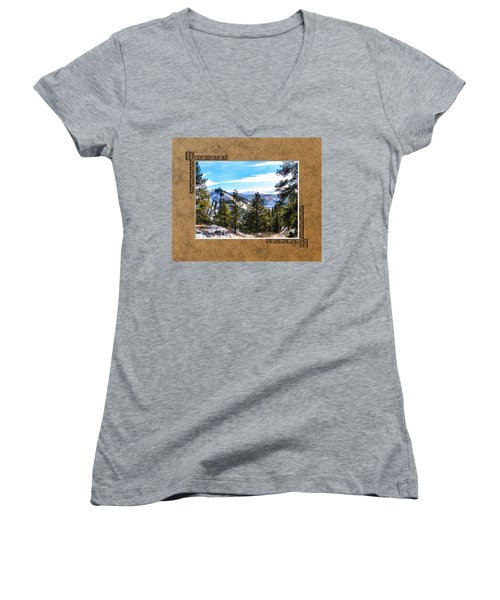 Women's V-Neck T-Shirt (Junior Cut) featuring the photograph North View by Susan Kinney