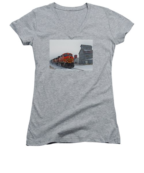 Northbound Winter Coal Drag Women's V-Neck T-Shirt (Junior Cut) by Ken Smith