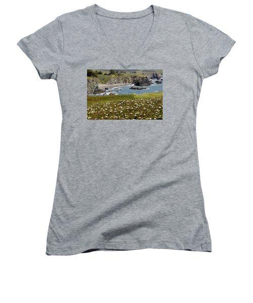 Northern California Coast Scene Women's V-Neck T-Shirt (Junior Cut) by Mick Anderson