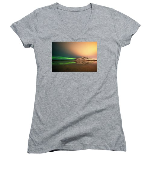 Northern Light In Lofoten Nordland 5 Women's V-Neck (Athletic Fit)