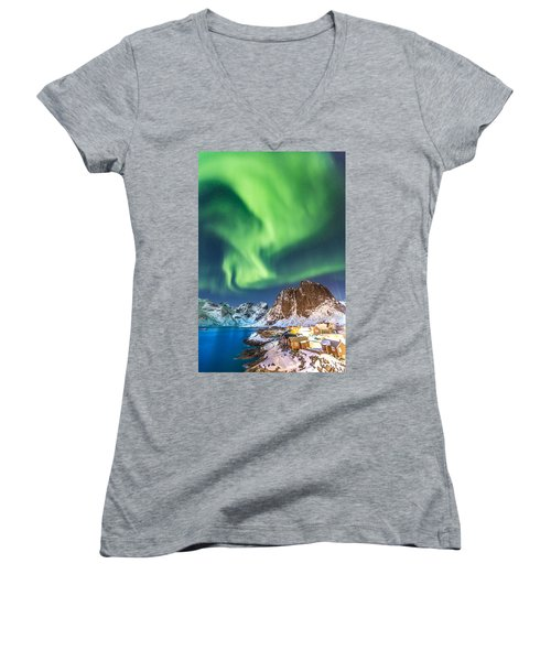 Northern Lights In Hamnoy Women's V-Neck (Athletic Fit)