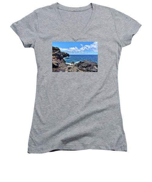 Northern Maui Rocky Coastline Women's V-Neck T-Shirt