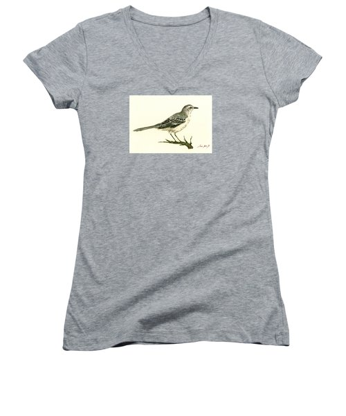 Northern Mockingbird Women's V-Neck T-Shirt (Junior Cut) by Juan  Bosco