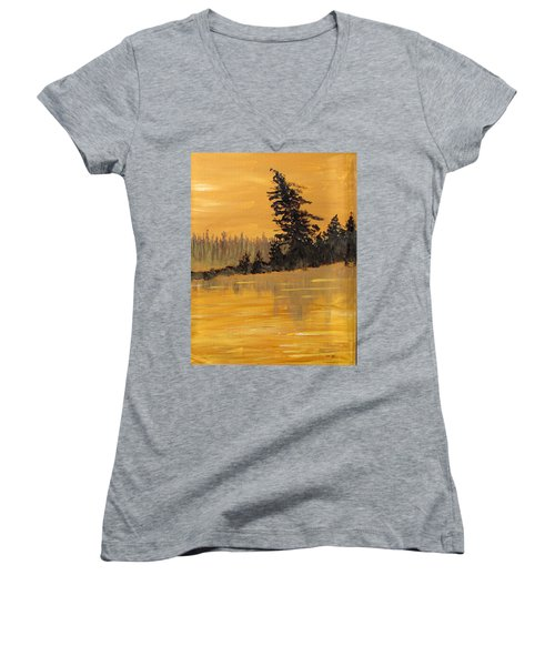 Women's V-Neck T-Shirt (Junior Cut) featuring the painting Northern Ontario Three by Ian  MacDonald